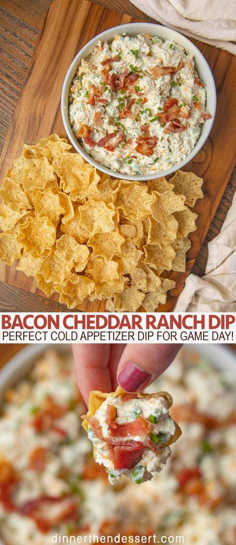 Bacon Cheddar Ranch Dip is the perfect cold appetizer dip with ranch mix, cheddar, sour cream and bacon that will be a hit for game day celebrations! appetizer recipe Bacon Cheddar Ranch Dip - Dinner, then Dessert Bacon Cheese Dips, Cream Cheese Dips, Bacon Appetizers, Appetizer Dips, Appetizer Recipes, Recipes Dinner, Bacon Bacon, Cheddar Bacon Dip, Bacon Meals