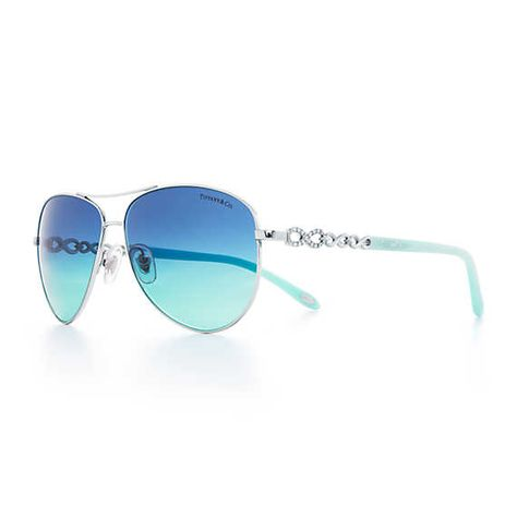 Tiffany Infinity aviator sunglasses in silver-colored metal and acetate.
