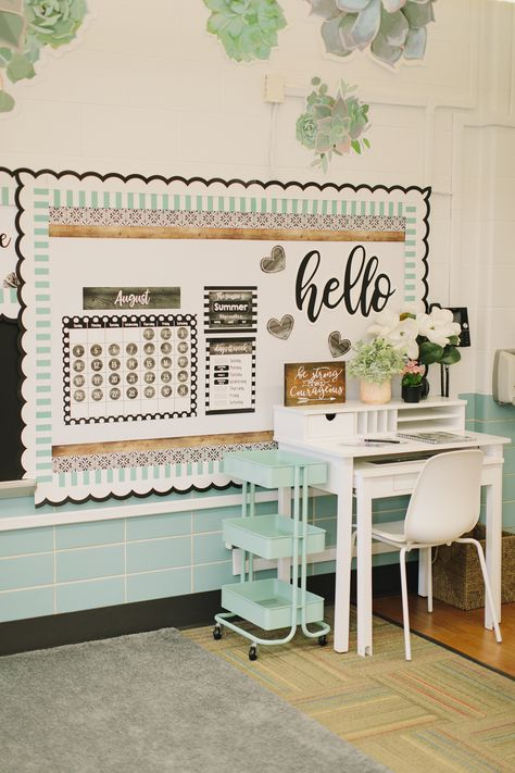 Simply Stylish was designed by Schoolgirl Style to connect a garden world to your classroom. Created with a calm background of whites, blacks and greens, natural elements are the focus in this space.