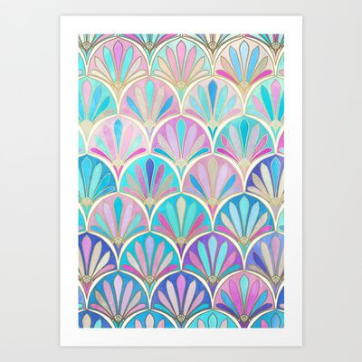 Buy Glamorous Twenties Art Deco Pastel Pattern by Micklyn as a high quality Art Print. Worldwide shipping available at Society6.com. Just one of millions…