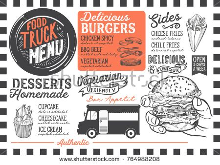 Food Truck Menu For Street Festival Design Template With Hand Drawn Graphic Illustrations Food Truck Menu Food Menu Template Food Truck