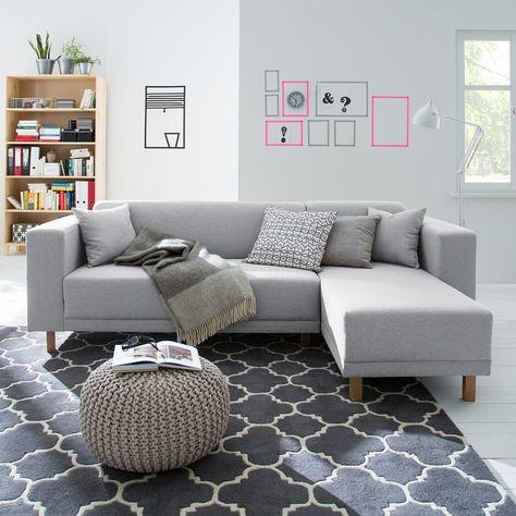 Ecksofa KiYDOO relax Webstoff - Longchair davorstehend rechts - sofa für küche