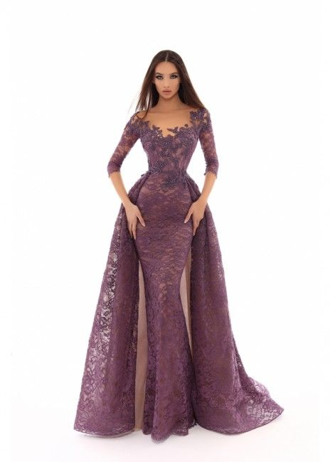 Tarik Ediz 93633 Fitted Lace with Train Mother
