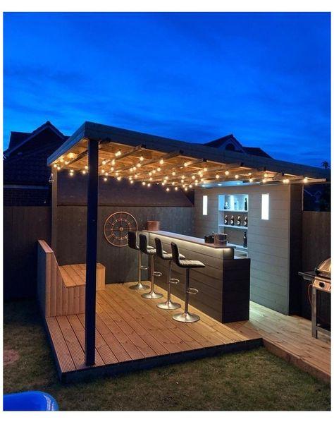 Outdoor Garden Bar, Outdoor Patio Bar, Backyard Bar, Backyard Patio Designs, Backyard Landscaping, Outdoor Bar Areas, Outdoor Barbeque, Outdoor Bars, Garden Bar Shed