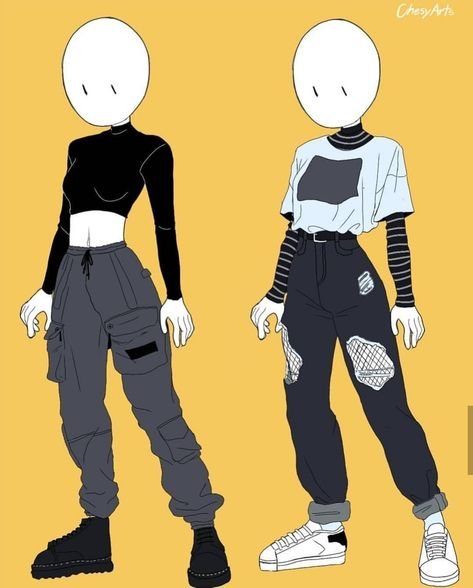 skizzen zeichnen aesthetic oufits in draw by chesiart Fashion Design Drawings, Fashion Sketches, Art Drawings Sketches, Cute Drawings, Outfit Drawings, Cartoon Drawings, Character Outfits, Character Art, Animation Character