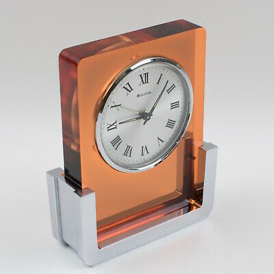 Ebay Ad Link Vintage 1970s Bulova Japan Wind Up Alarm Table Clock Copper Lucite Chrome In 2020 Clock Table Clock Bulova Clock