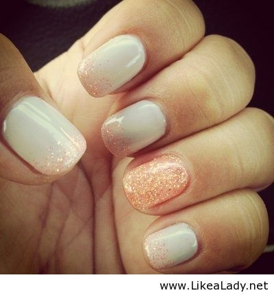 Great combination of muted nude tones with a soft glitter accent.