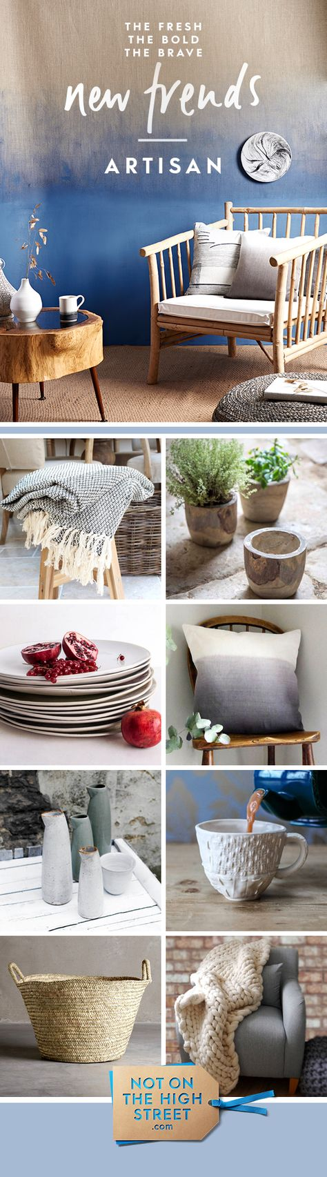Craft is at the heart of the artisan trend, which brings together objects made by hand from rustic materials such as wood, rope and clay.