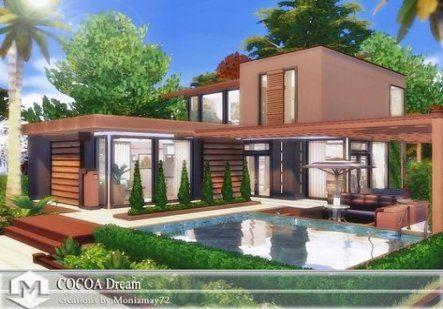 Trendy Garden Modern Pool Spaces 63 Ideas Garden Sims House Design Sims 4 House Design Sims 4 Houses