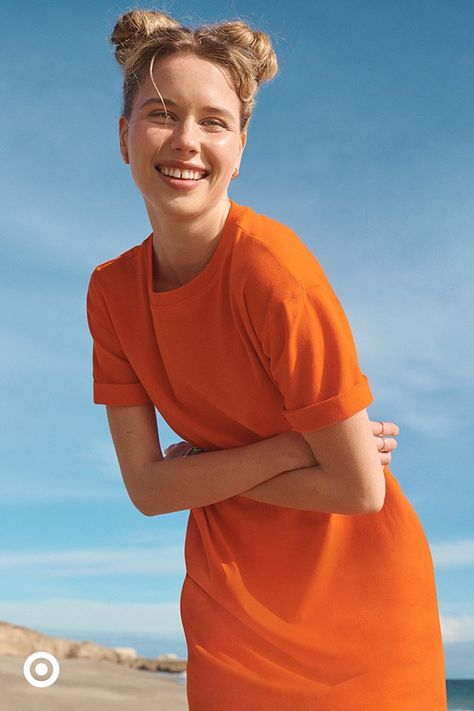 A comfy t-shirt dress is a versatile summer outfit. It can be dressed up or down, and also worn as a swimsuit cover-up.