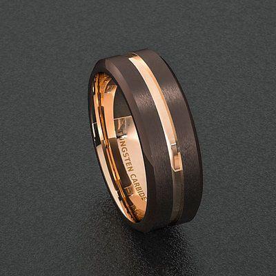 8dfdb23681fcd Details about Mens Wedding Band 8mm Dark Espresso Collection Brown ...