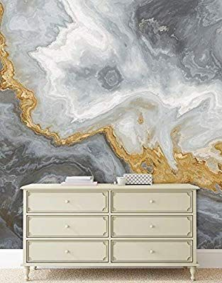 Amazon Com Gray And Gold Marble Stone Quartz Agate Peel And Stick Wallpaper Removable Wall Mural 6190 108in W X 4 Removable Wall Murals Wall Murals Mural