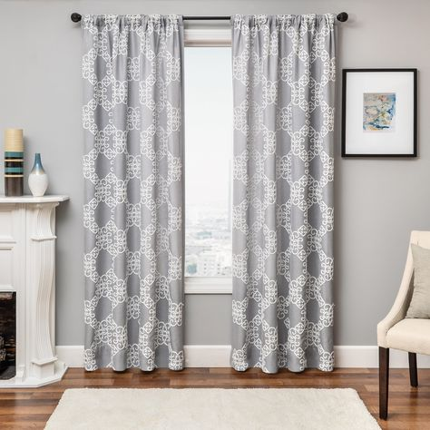 Liam 96 Embroidered Panel Curtain White Gray Rod Pocket