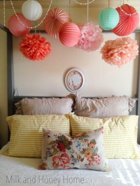 Elegant Girlu0027s Room Ideas: Funky Hanging Paper Lanterns, Tissue Paper Balls, And  String Of