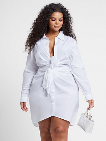 Anais Knot-Front Shirt Dress - Fashion To Figure | Fashion to ...