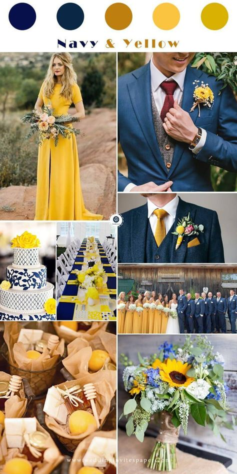 Top 7 Early Spring Navy Blue Wedding Color Palettes Top 7 Early Spring Navy Blue Wedding Color Palettes, navy and yellow elegant and whimsical wedding<br> Blue Yellow Weddings, Yellow Wedding Colors, Winter Wedding Colors, Winter Weddings, Burgundy Wedding, Wedding Navy, Mustard Yellow Wedding, Wedding Summer, Green Wedding