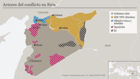 Karte Syrien.Karte Syrien Kontrollierte Gebiete 11 April 2018 Spa Guerra Sin