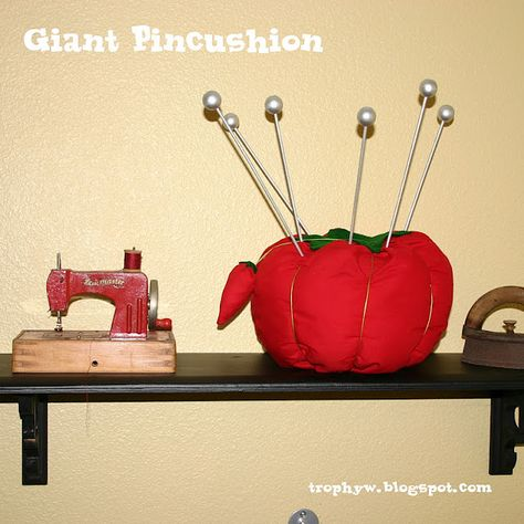 Giant pin cushion for sewing room