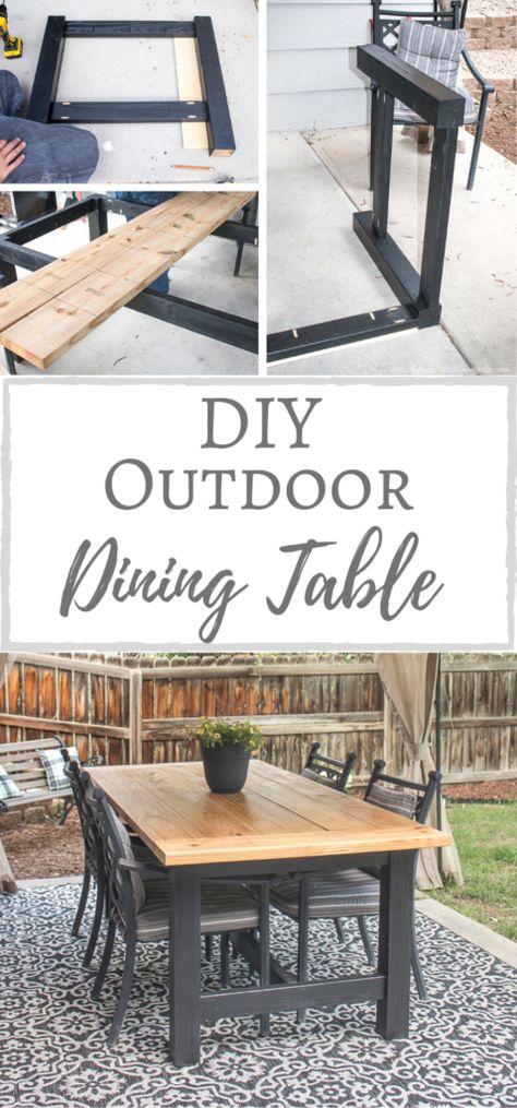 Outdoor Wood Table, Diy Dining Table, Diy Outdoor Furniture, Diy Furniture, Diy Patio Tables, Farm House Dinning Table, Diy Wood Table, Outdoor Table Plans, Outdoor Farmhouse Table