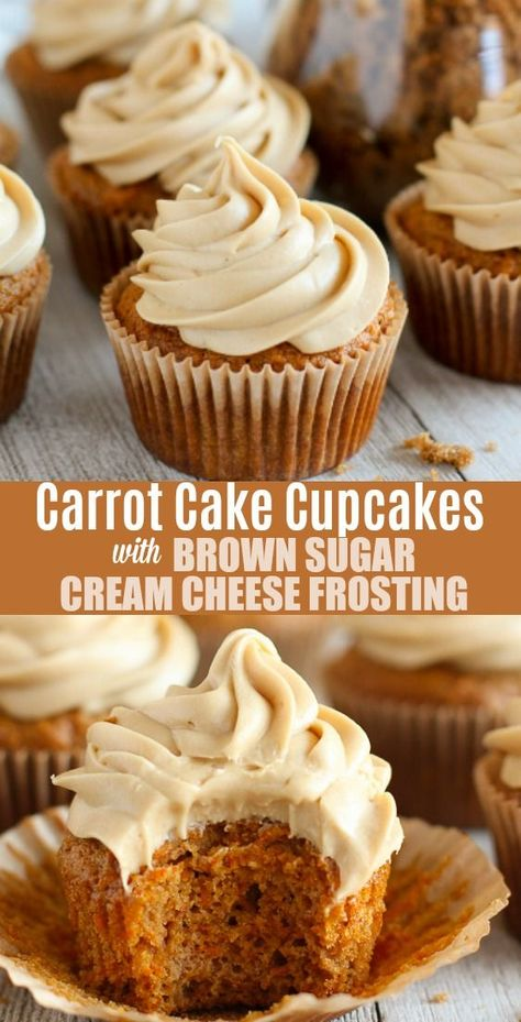 carrot cake recipe Carrot Cake Cupcakes - Tender and fluffy, lightly-spiced Carrot Cake Cupcakes topped with a rich Brown Sugar Cream Cheese Frosting. Everyone loves this tasty twist on traditional Carrot Cake. Carrot Spice Cake, Carrot Cake Cupcakes, Cupcake Cakes, Carrot Cake Frosting, Mini Carrot Cake, Cupcakes With Cream Cheese Frosting, Buttercream Frosting, Cream Cake, Easter Cupcakes