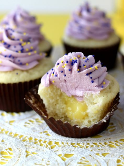 """Blueberry Lemon Curd Cupcakes. """"I made these last week and they were delicious!!!  Probably my new favorite cupcake recipe of all time."""""""