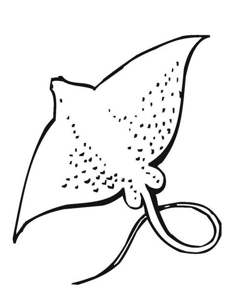 Sea Animals Giant Stingray Free Sea Animals Coloring Page