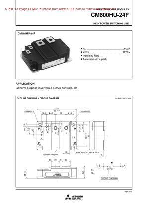 Cm600hu 24f Mitsubishi Igbt Power Module Power Transistors Application Download