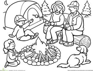 Color The Family Camping Trip Worksheet Education Com Kostenlose Ausmalbilder Wenn Du Mal Buch Malvorlagen Fur Kinder