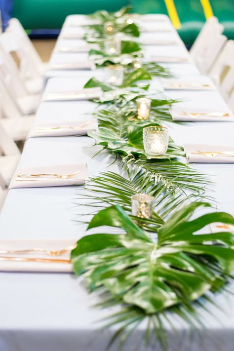 Tropical Guest Table + Monstera Leaf Runner from Island Baby Shower on Kara's Party Ideas Baby Shower Boho, Baby Shower Table, Baby Shower Themes, Baby Boy Shower, Shower Ideas, Hawaiian Baby Showers, Luau Baby Showers, Tropical Bridal Showers, Gold Baby Showers