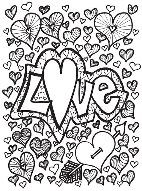 Coloriage anti-stress pour adultes à imprimer Adult coloring - copy coloring pages with hearts and flowers
