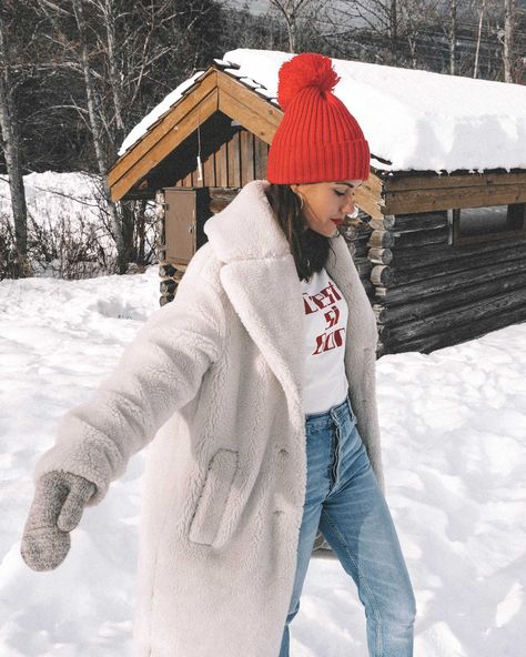 White faux shearling coat and sorel boots with jeans in Whis… Winter snow outfit! White faux shearling coat and sorel boots with jeans in Whislter, Canada