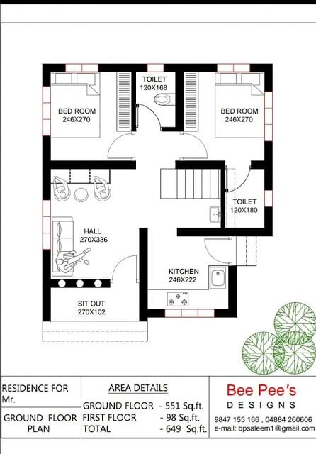 649 Sqft Low Budget 2 Bedroom Home Design And Free Plan From Bee Pee S Free Kerala Home Plans Budget House Plans 2bhk House Plan One Floor House Plans Home plan low cost