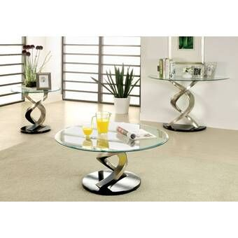 Barbieri 3 Piece Coffee Table Set Coffee Table Tempered Glass Table Top 3 Piece Coffee Table Set