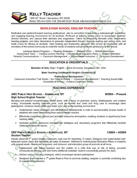Teacher Resume Sample Teaching Pinterest Teacher, Career and - english teacher resume sample