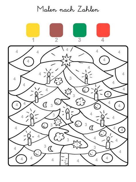 ausmalbild malen nach zahlen weihnachtsbaum ausmalen