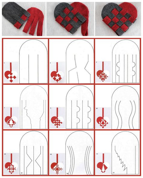 DIY 27 Woven Danish Heart Printables chatbreak here. Top Row Photos: DIY Woven Danish Felt Basket Tutorial from Radmegan here. Danish Christmas, Scandinavian Christmas, Christmas Hearts, Christmas Diy, Swedish Christmas Decorations, Christmas Ornaments, Valentine Crafts, Holiday Crafts, Heart Template
