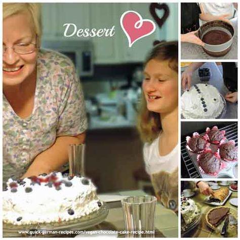 Use this vegan chocolate cake recipe to make Black Forest Cake and cupcakes. So easy. So good.  http://www.quick-german-recipes.com/vegan-chocolate-cake-recipe.html