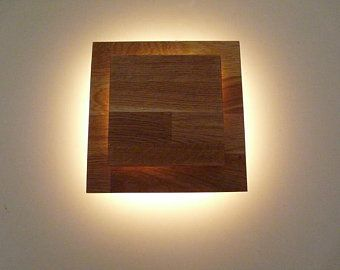 Wall Lamp Led Wood Lamp Oak Oiled 20 X 20 Cm Art Lamp Light Wall Art Meditation Room