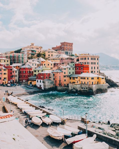 Boccadasse – a cute little fishing village attached to the city of Genoa, Italy - Travel Places To Travel, Travel Destinations, Places To Visit, Africa Destinations, Travel Photographie, Photos Voyages, Travel Goals, Travel Hacks, Travel Essentials