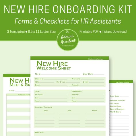 Onboarding | Human Resources | Human Resources Planner | Human Resources Templates | Office Organization Printables | HR Forms |HR Assistant