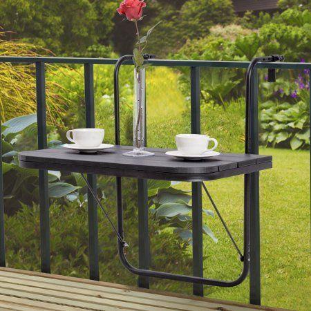 Costway Klappbalkon Deck Tisch Terrasse Kleine Seitenstander