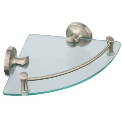 Delta 8 In W Glass Corner Shelf In Brushed Nickel Exten16 Bn