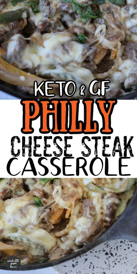 A keto philly cheese steak casserole with steak, bell peppers, and provolone cheese that makes a great low carb and gluten free casserole for dinner.