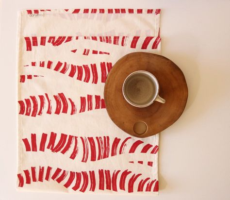 Hand Screen Printed Table Runner Red Print On Organic Cotton Kitchen Decor Holiday Decoration Table Linen Hand Made In Amsterdam Printed Table Runner Hand Printed Fabric Hand Screen Printed