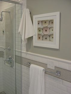 floor and glassstone x white subway tile shower with accent penny ...