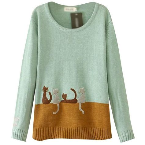 Keral Womens Cat Pattern Printing Mix Color Long Sleeve Sweater (93 BRL) ❤ liked on Polyvore featuring tops, sweaters, green top, cat print sweater, long sleeve sweaters, green sweater and cat print top