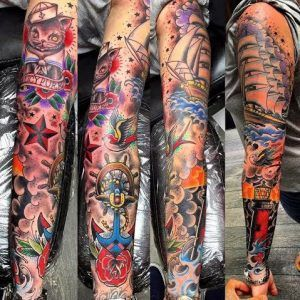 When placed together, tattoo sleeves are basically large tattoo or a collection of various random designs that cover a bigger part of the arm.