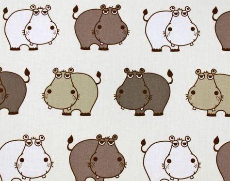 Muster: Baumwollstoff Nilpferde - im Online-Shop günstig kaufen
