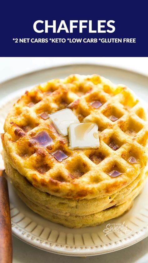 These Easy Keto Chaffles can be made 8 different ways are the easiest 2 ingredient low carb waffles you can make. Just two main ingredients & less than 5 minutes in you Dash mini waffle maker or belgian waffle iron! They cook up soft, crispy & so delicious! Perfect for breakfast, brunch or use them like sandwich bread or a pizza crust for healthy snack or lunch. Super viral popular & the latest keto breakfast craze that you have to try! Grain free, gluten free, low carb, keto & only 2 Net Carbs!