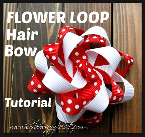 Flower Loop Hair Bow Tutorial - Hairbow Supplies, Etc. Flower Loop Hair Bow Tutorial - Adorable and easy video on how to make a loopy flower bow. Super cute and very versatile hair bow. Hairbow Supplies, Etc. Ribbon Hair Bows, Diy Hair Bows, Diy Bow, Ribbon Flower, Homemade Hair Bows, Tulle Hair Bows, Nice Flower, Hair Bow Tutorial, Flower Tutorial